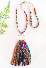 Kantha and Gold Fringe Necklace