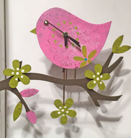 Silly Clocks Spring Bird, Pink, Colombia