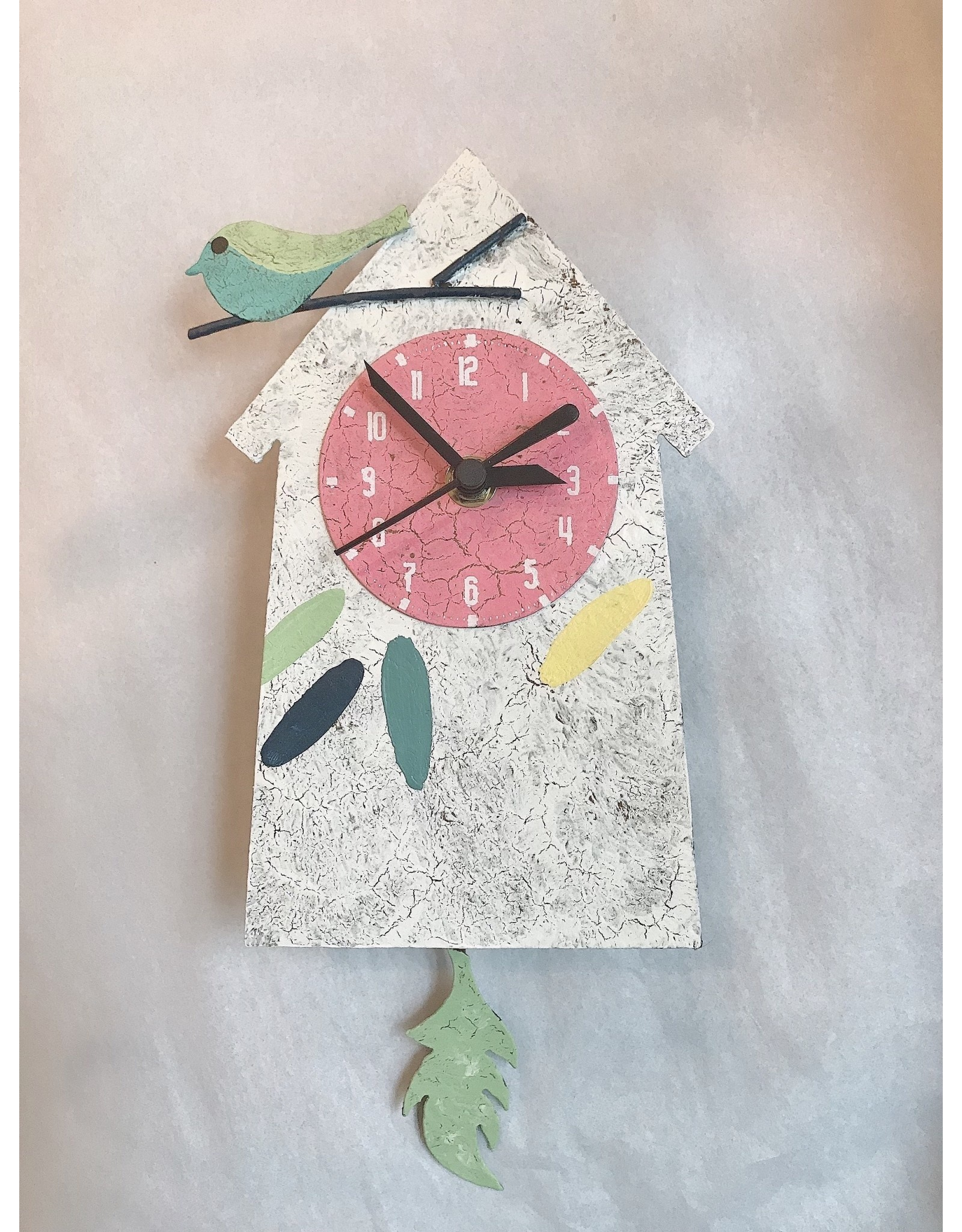 Silly Clocks, Birdhouse w/ Feather, White, Colombia