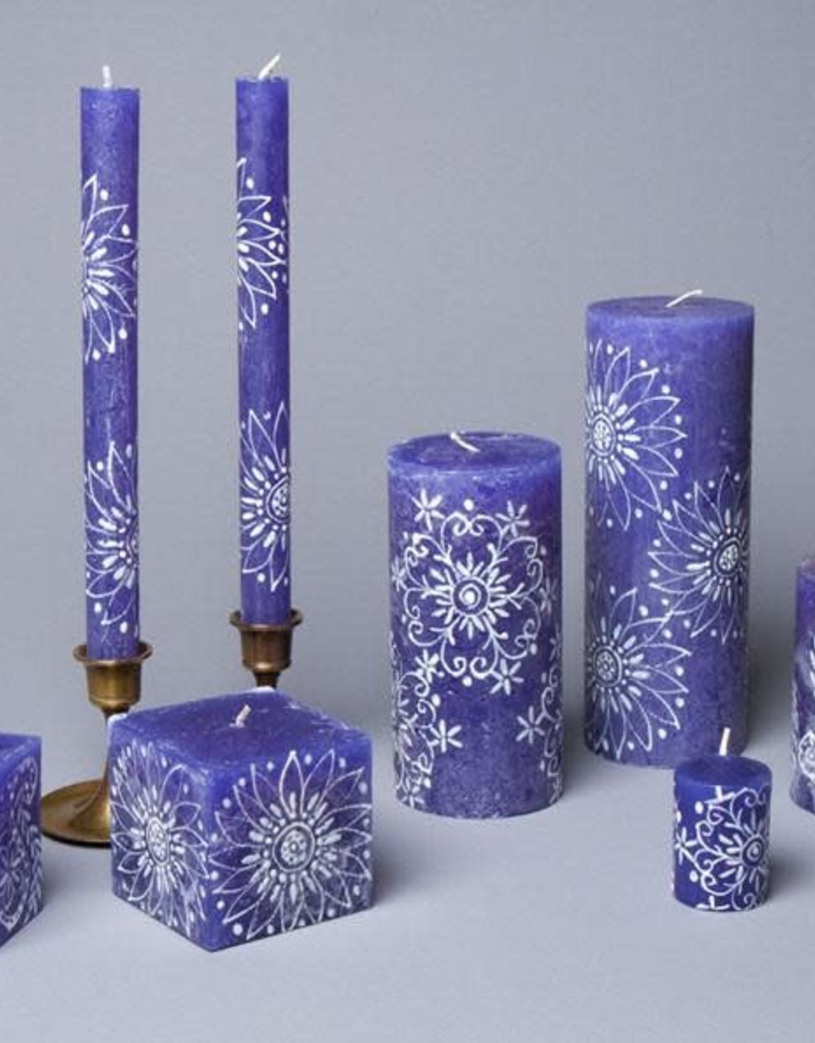 Henna White on Blue Votive Candles, Set of 6
