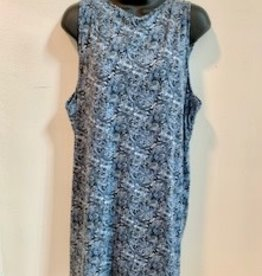 Printed Paisley Knit Dress, Blue, Nepal