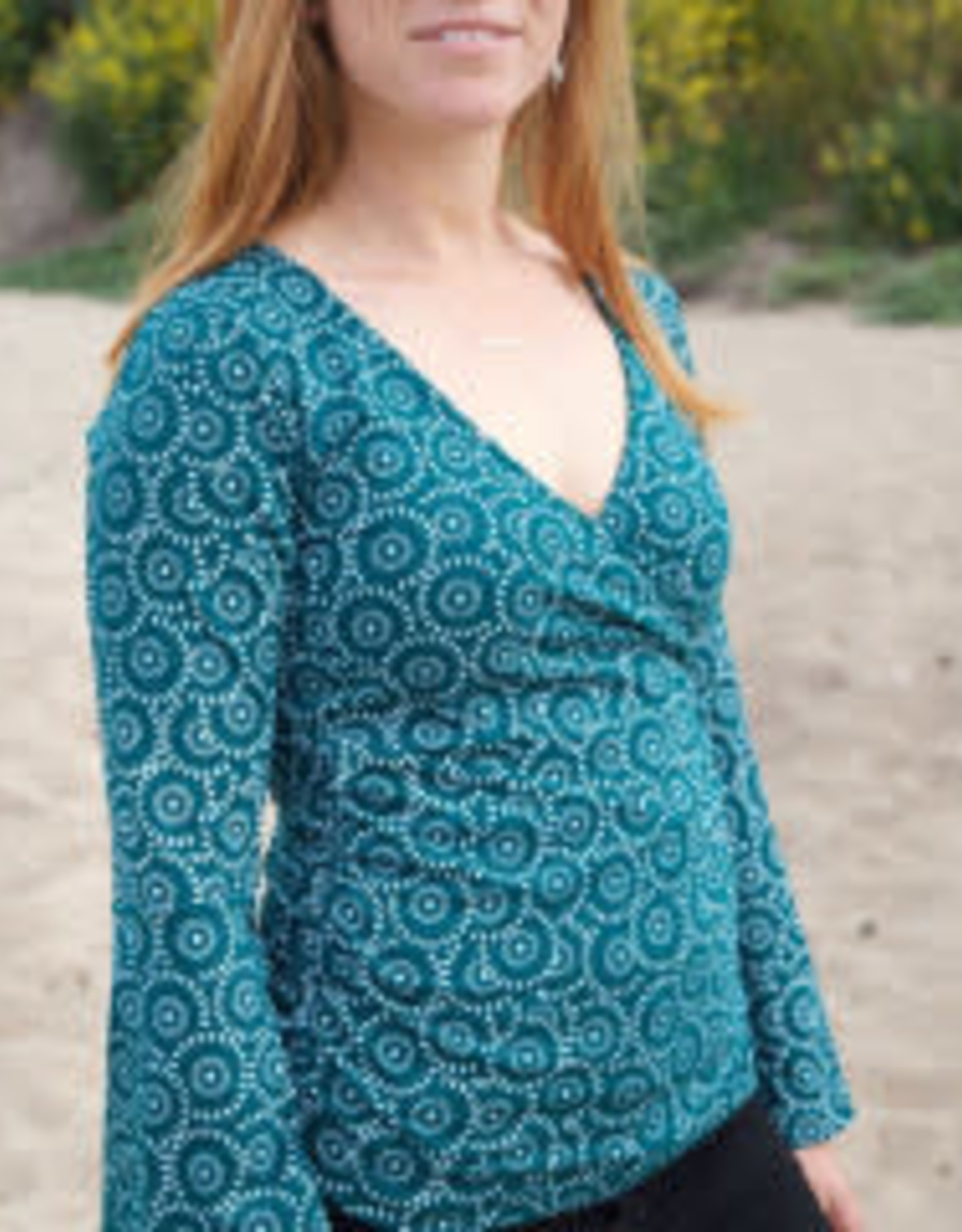 Wrap Top w/ ORGANIC COTTON Long Bell Sleeves, Teal