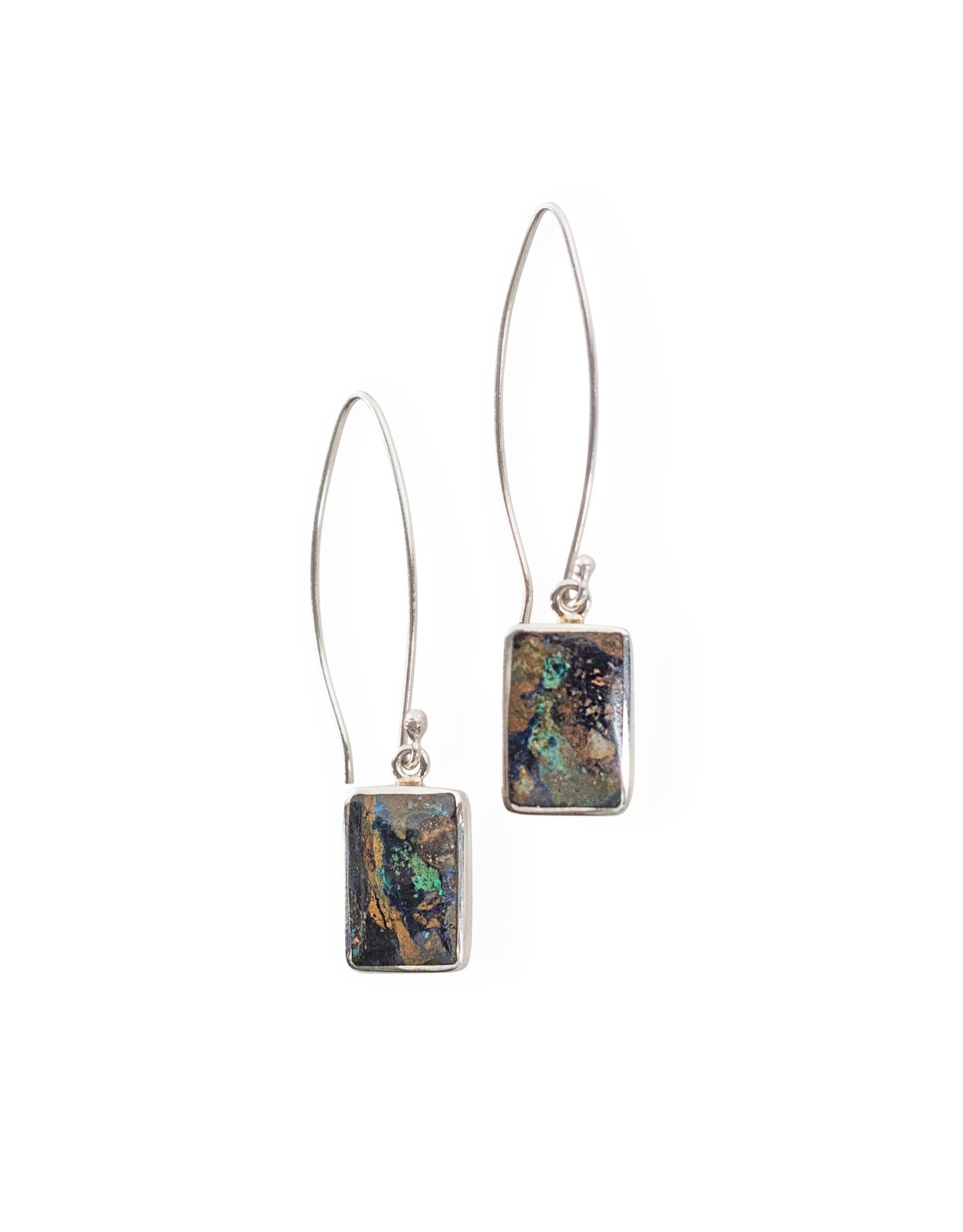 Azurite Submarine View  Sterling Earrings, Peru