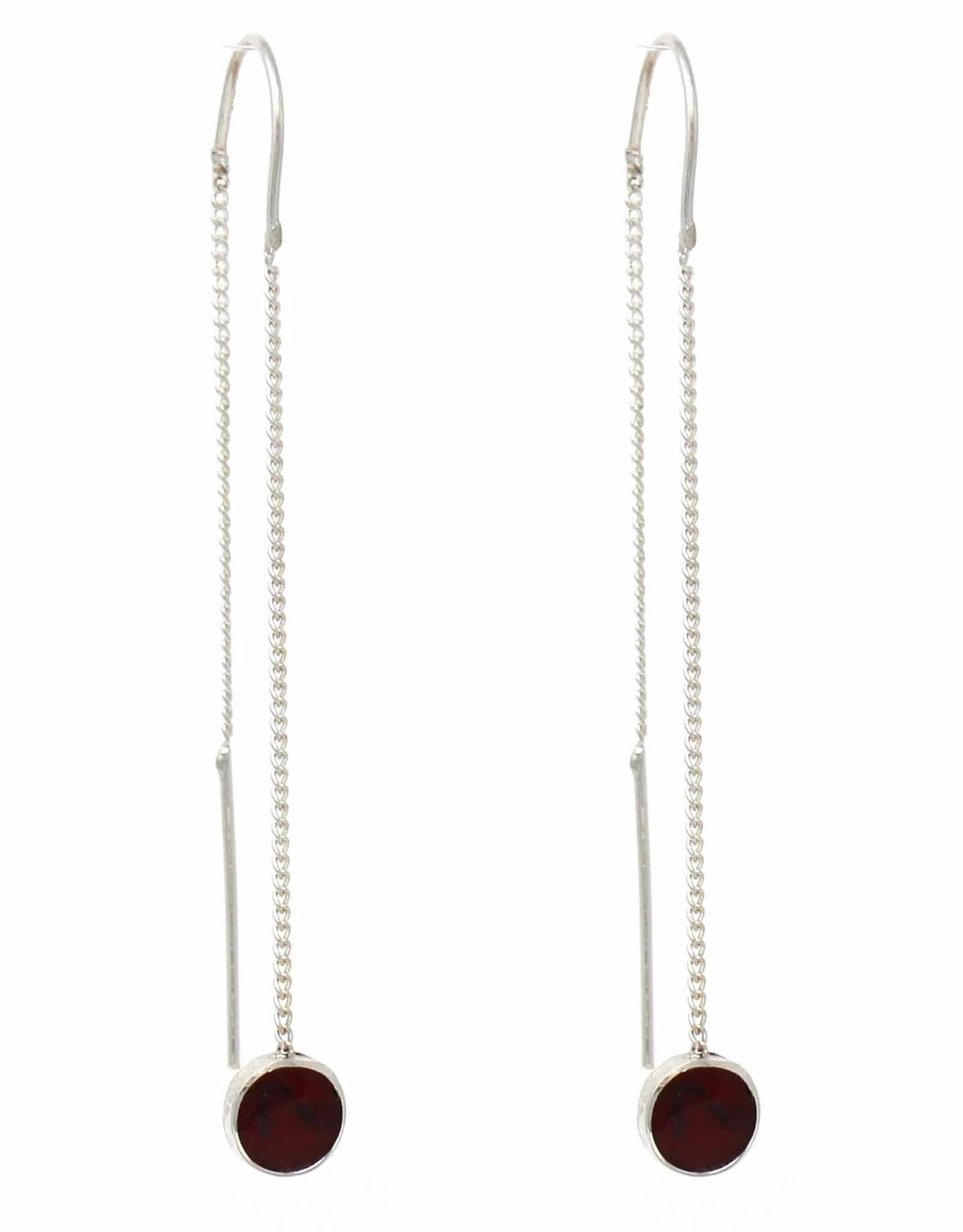 Silver Threader Chain w/ Red Jasper