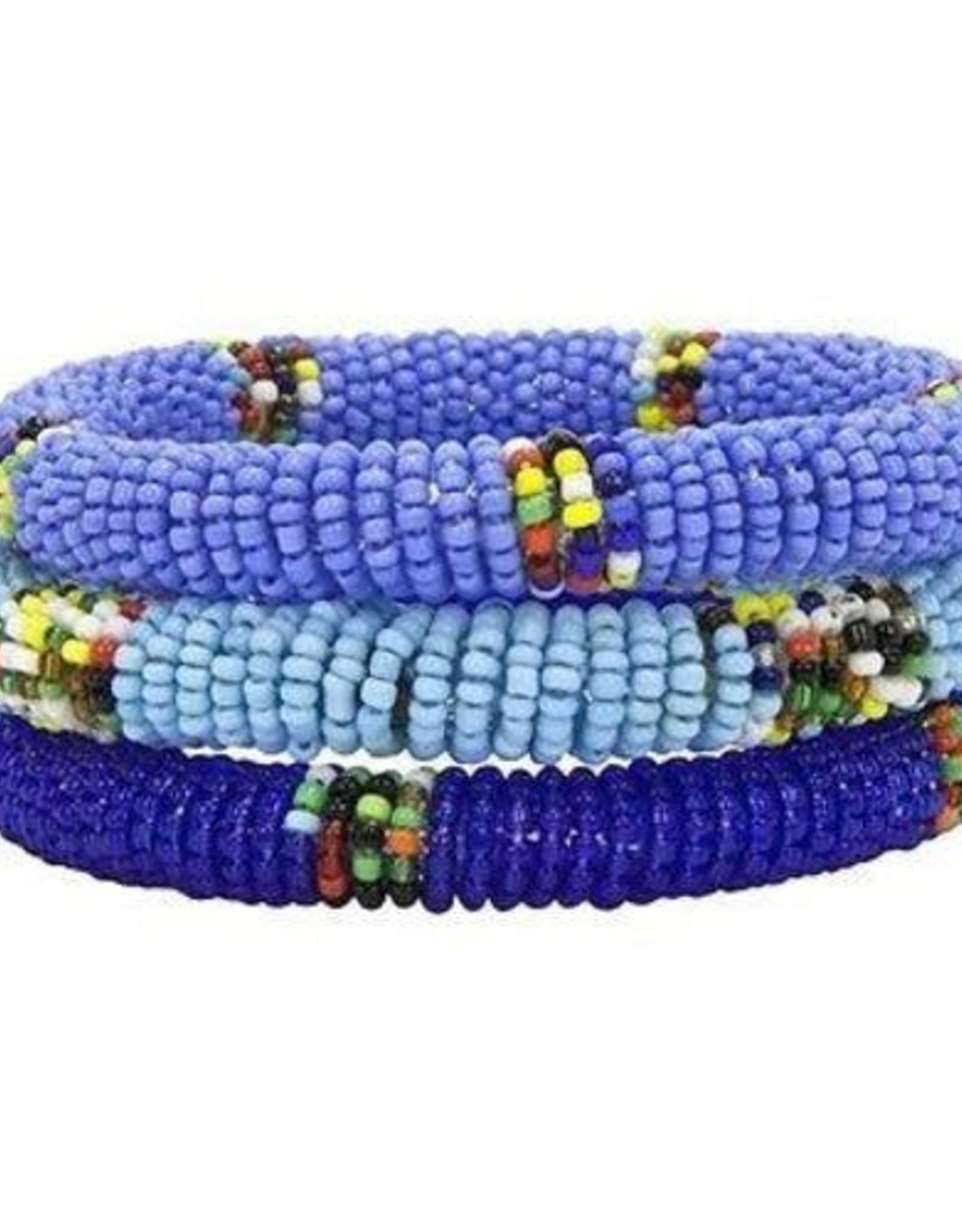 Maasai Bead Bangles Set of 3 Blue