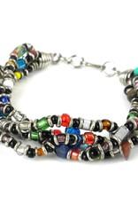 4 Strand Bead Bracelet, Multicolored