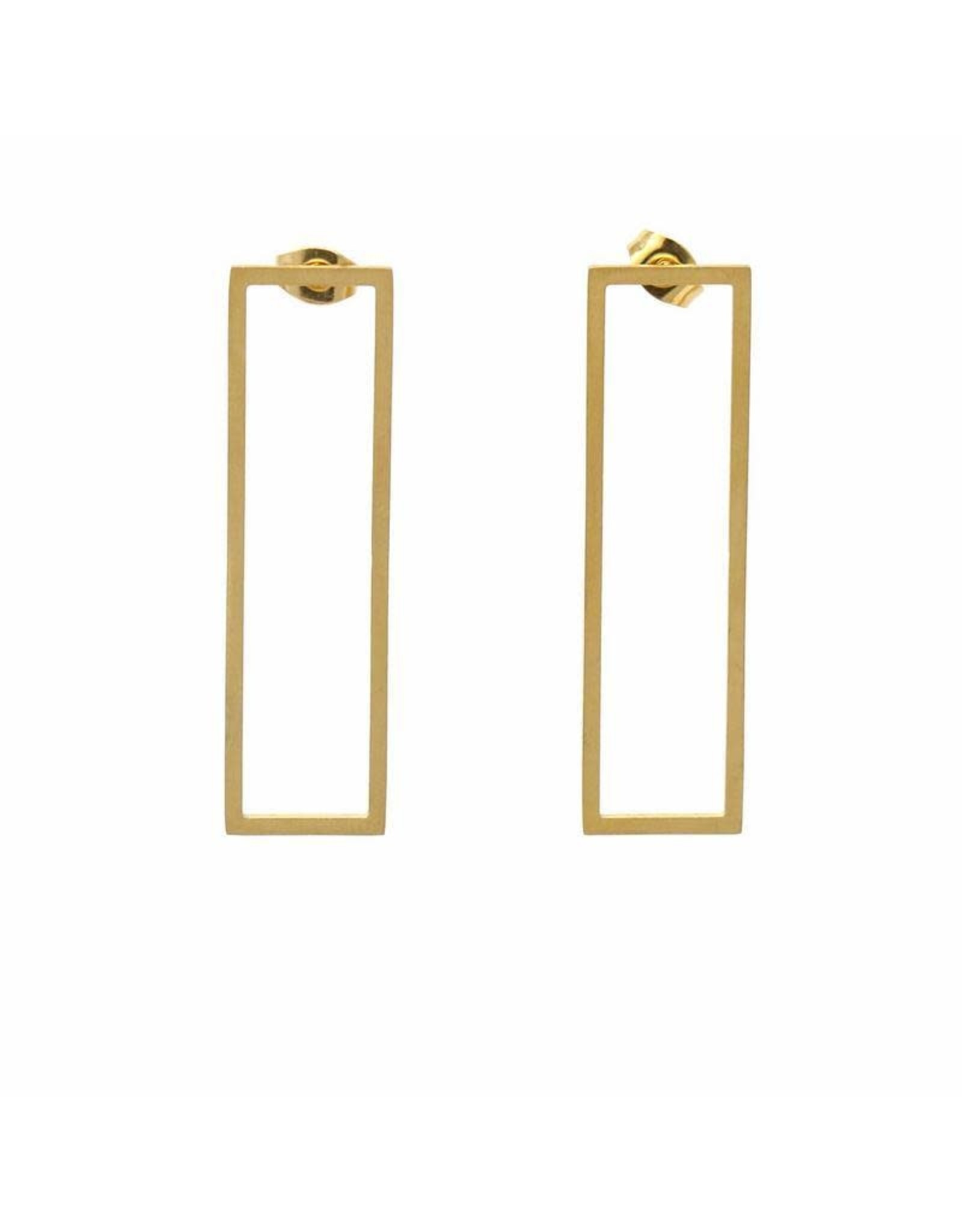 Gold Plated Rectangle Studs, Beijing