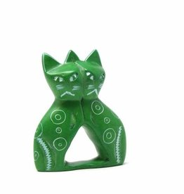 Soapstone Twin Cat, Green