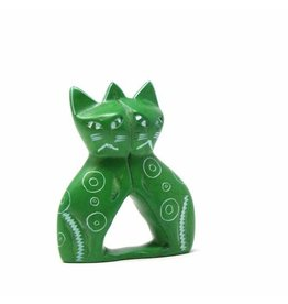 Soapstone Twin Cat, Green