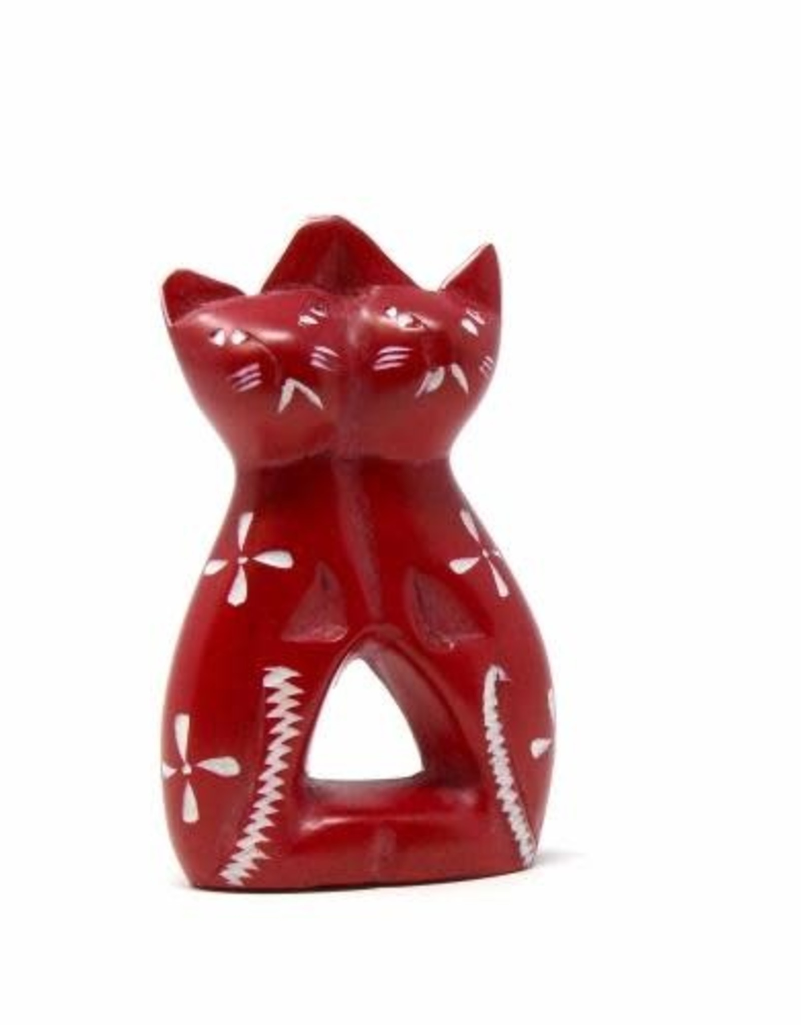 Soapstone Twin Cat, Red