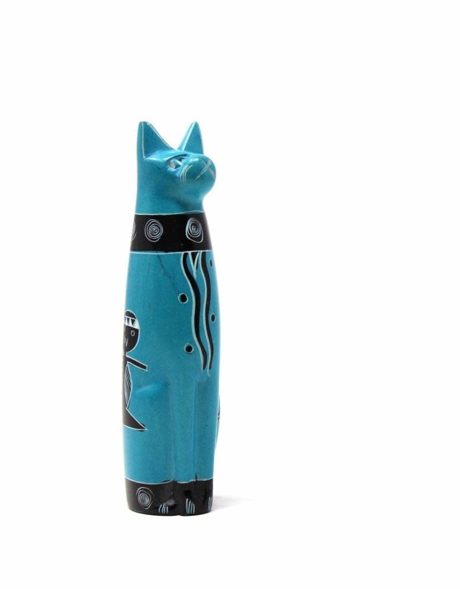 Soapstone Sitting Cat, Turquoise