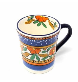 Flared Coffee Mug, Orange Flower, Mexico