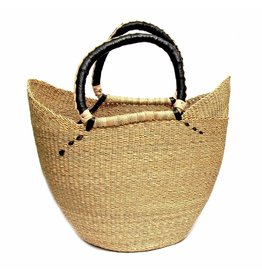 Bolga Tote, Natural w/ Black Accent, Ghana