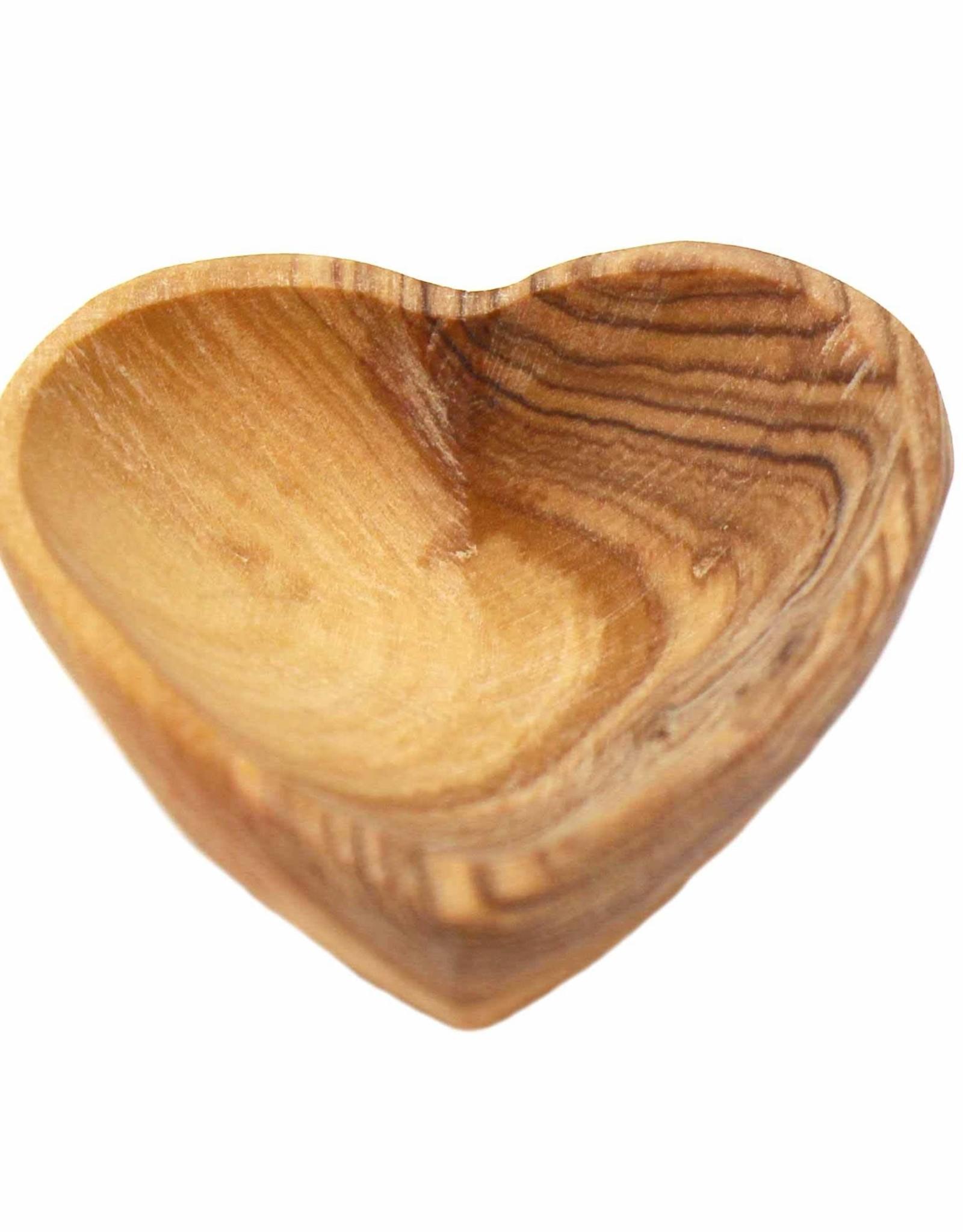 "Petite Olive Wood Heart Dish, 2"""