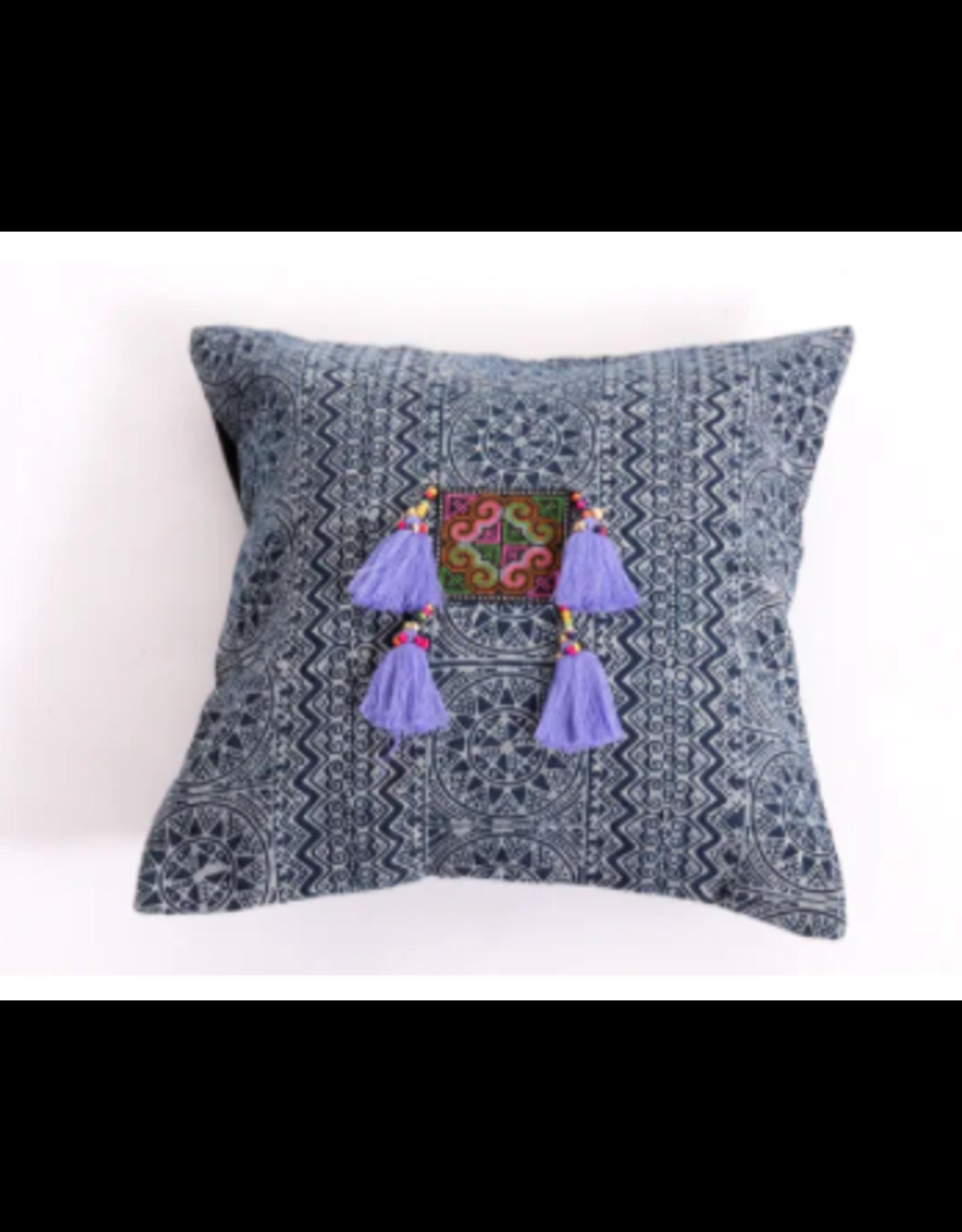 Hill Tribe Block Print Cotton Pillow Case, w/ Tassels