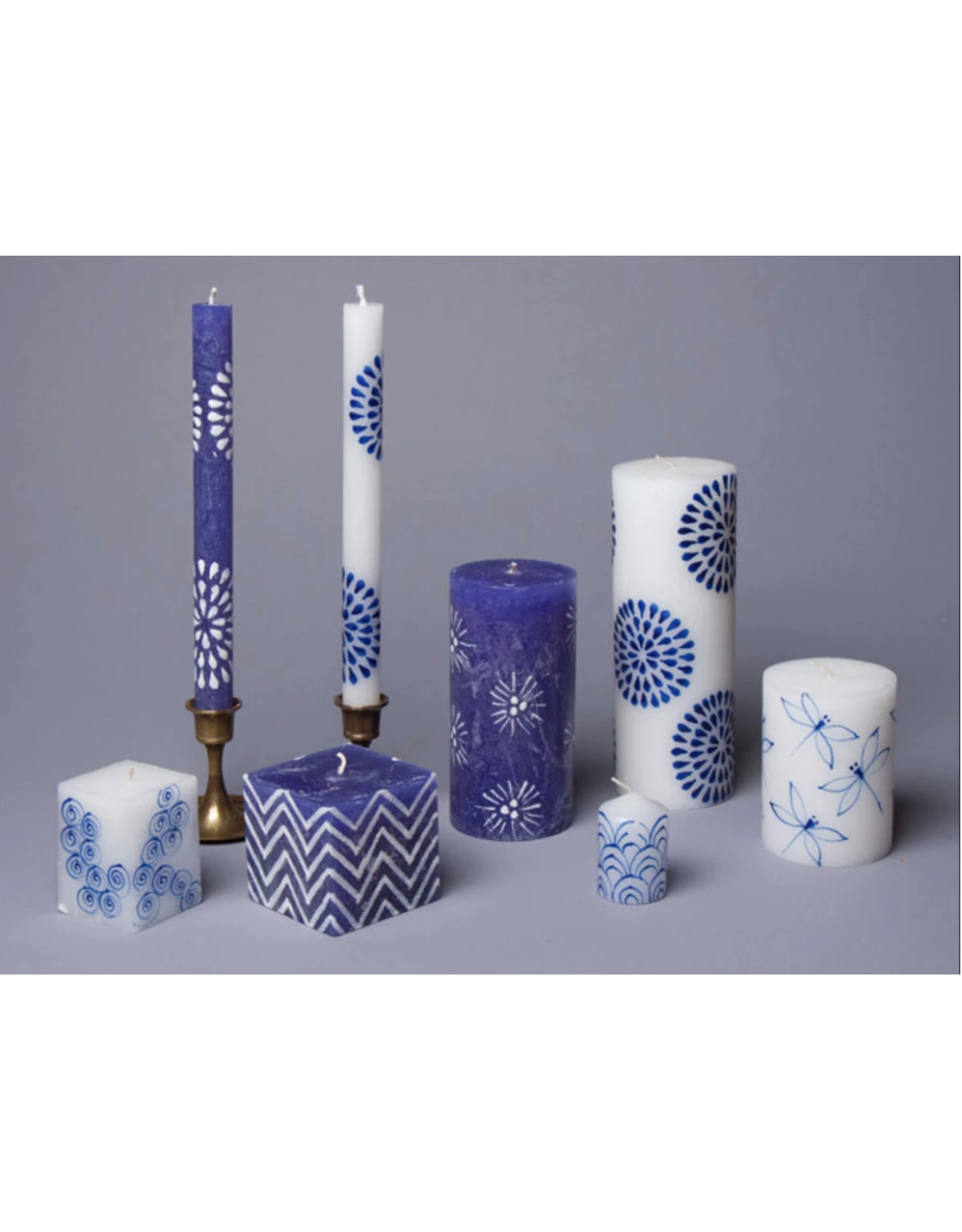 """South Africa, Henna White/Blue 9"""" Taper Candles"""