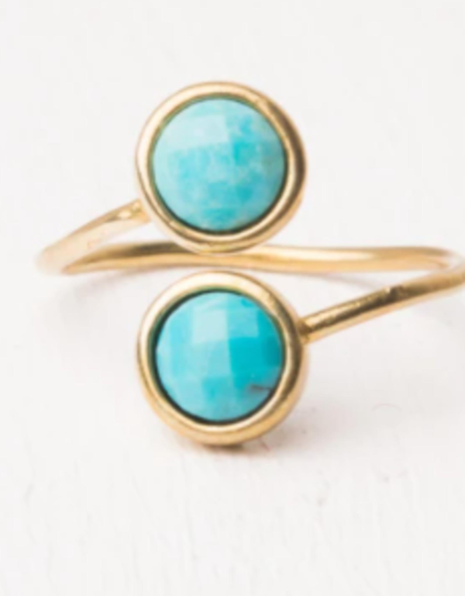 Turquoise & Gold Wrap Ring, Maddison