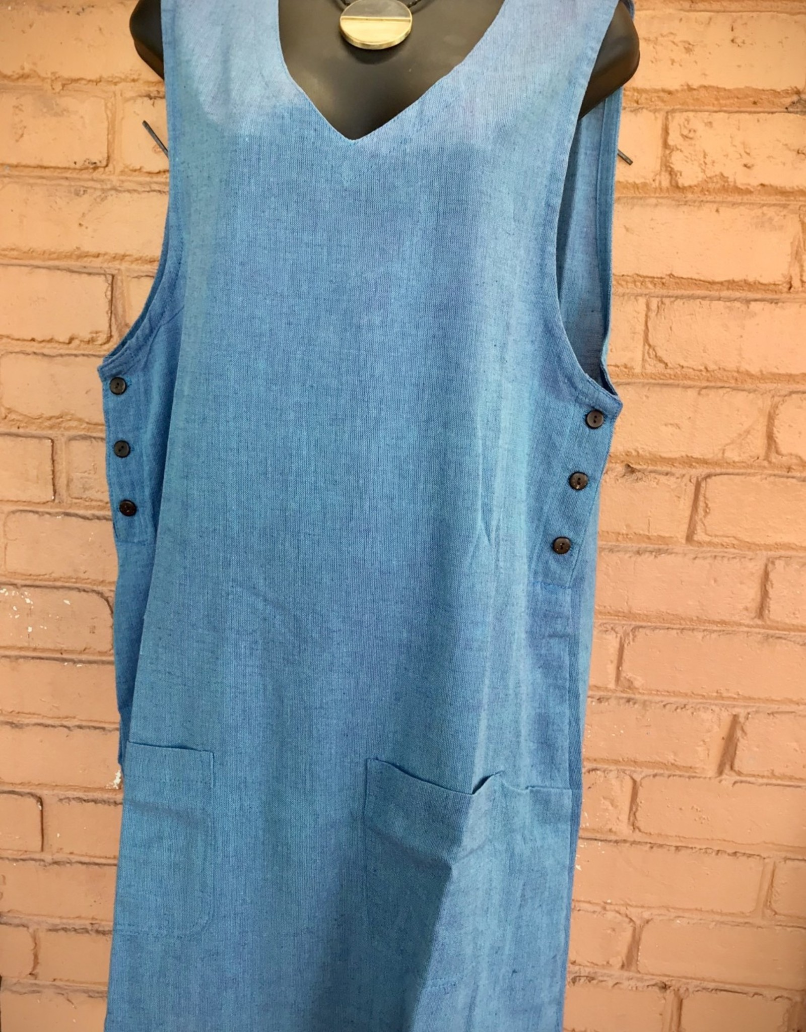 V Neck Cotton Jumper, Blue or Black, Nepal