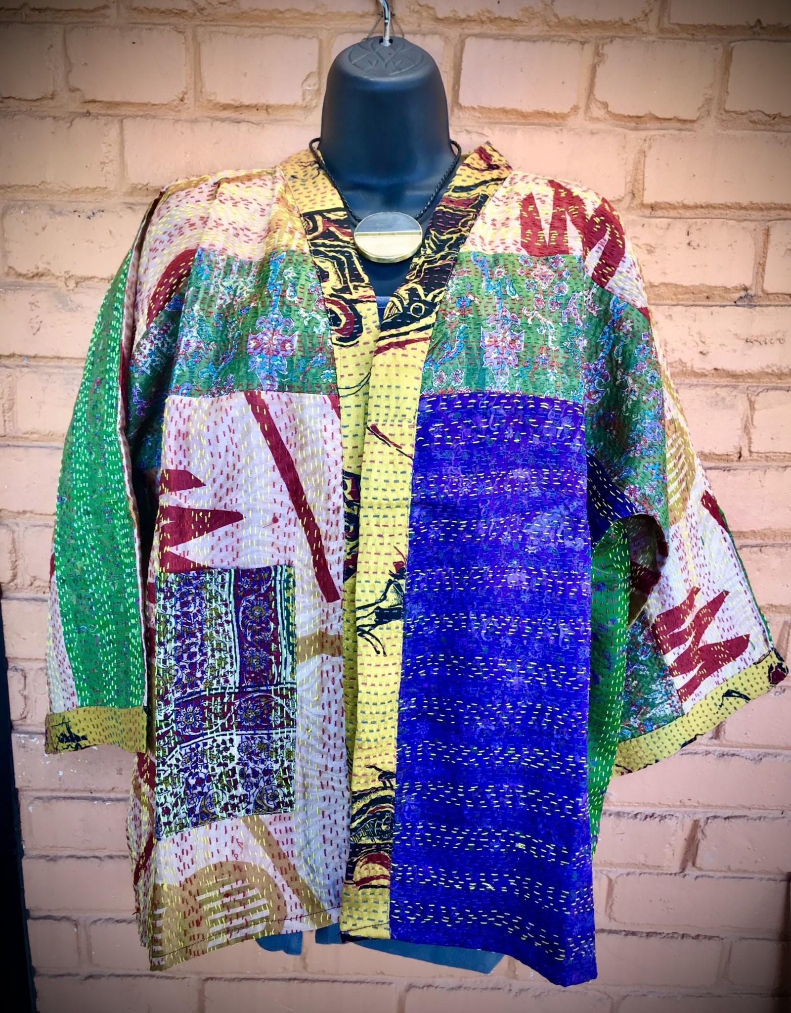 Kimono Jacket, Sari Kantha Stitched Silk, India