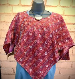 Kantha Triangle Stitched Sari Kimono Top, India