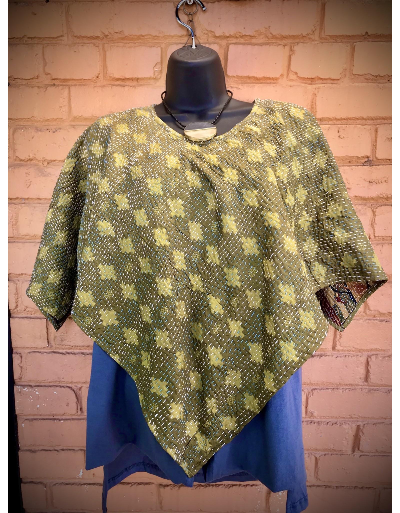 Kantha Triangle Stitched Sari Kimono Top, India