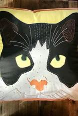 "18 x 18"" Pillow, Cat Face, Lime"