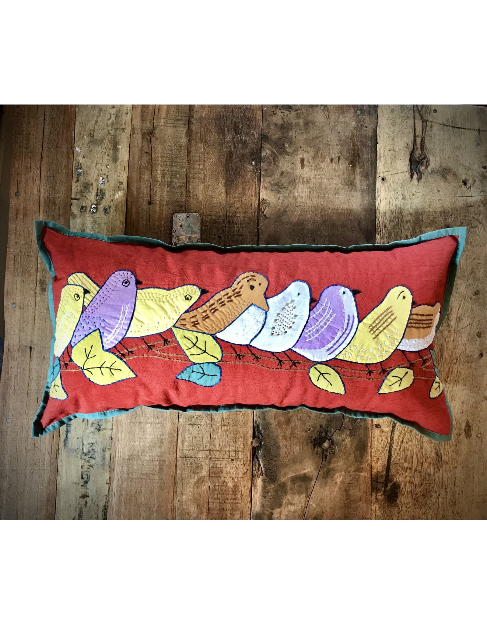 9 x 19 Inch Pillow Birds on a Limb, India