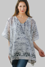 Batik Handwoven Cotton Top, Black Lotus, India