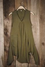 Pippy Cotton Tank Dress, Olive L/XL, Thailand