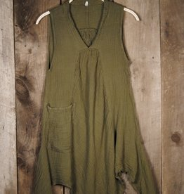 Pippy Cotton Tank Dress, Olive L/XL, Thailand