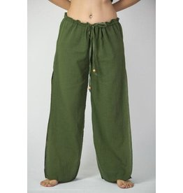 Cotton Double Layer Palazzo Pants, Green, Thailand