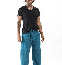 Tribal Pin Stripe Draw String Pants, Teal
