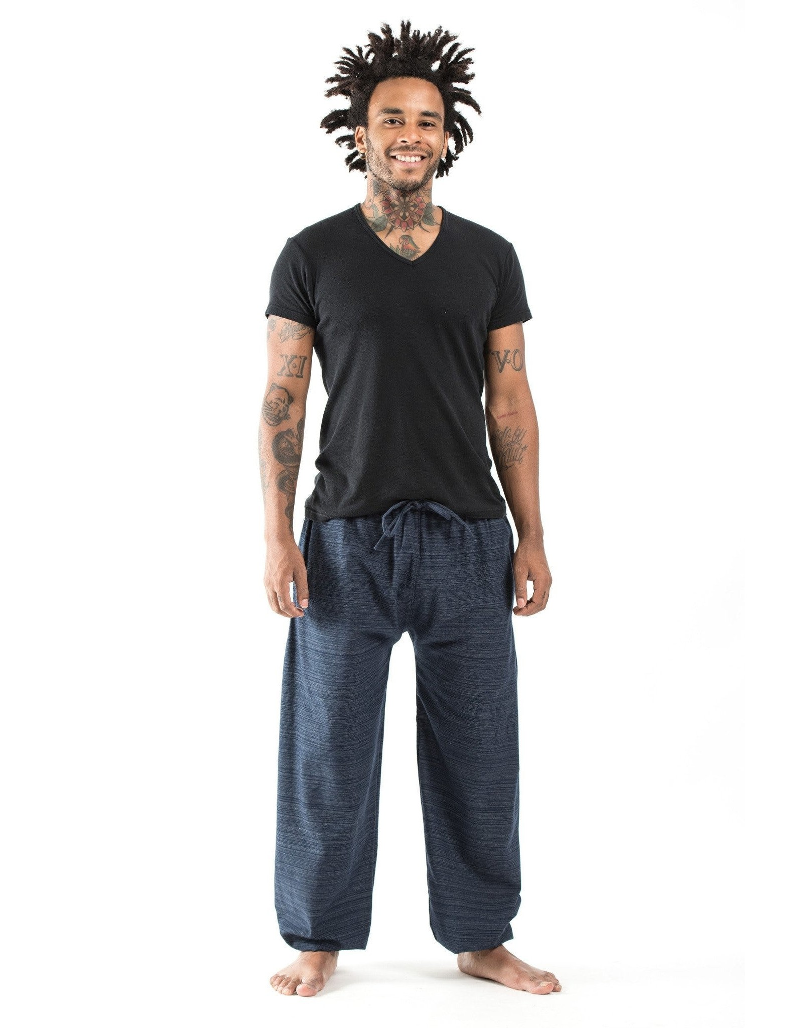 Tribal Top, Low Crotch Harem Pin Stripe Pants,  Navy