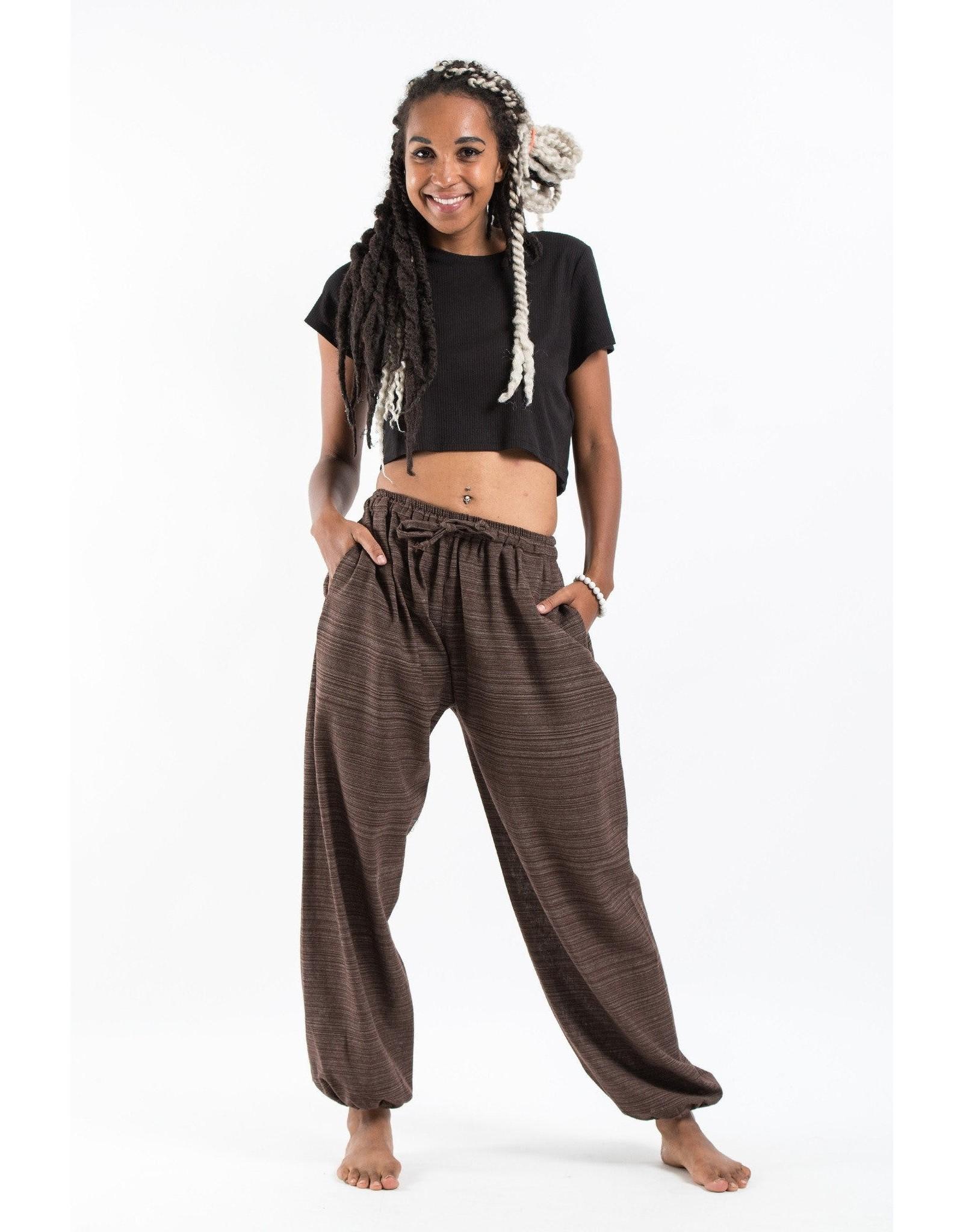 Tribal Pin Stripe Draw String Pants, Brown