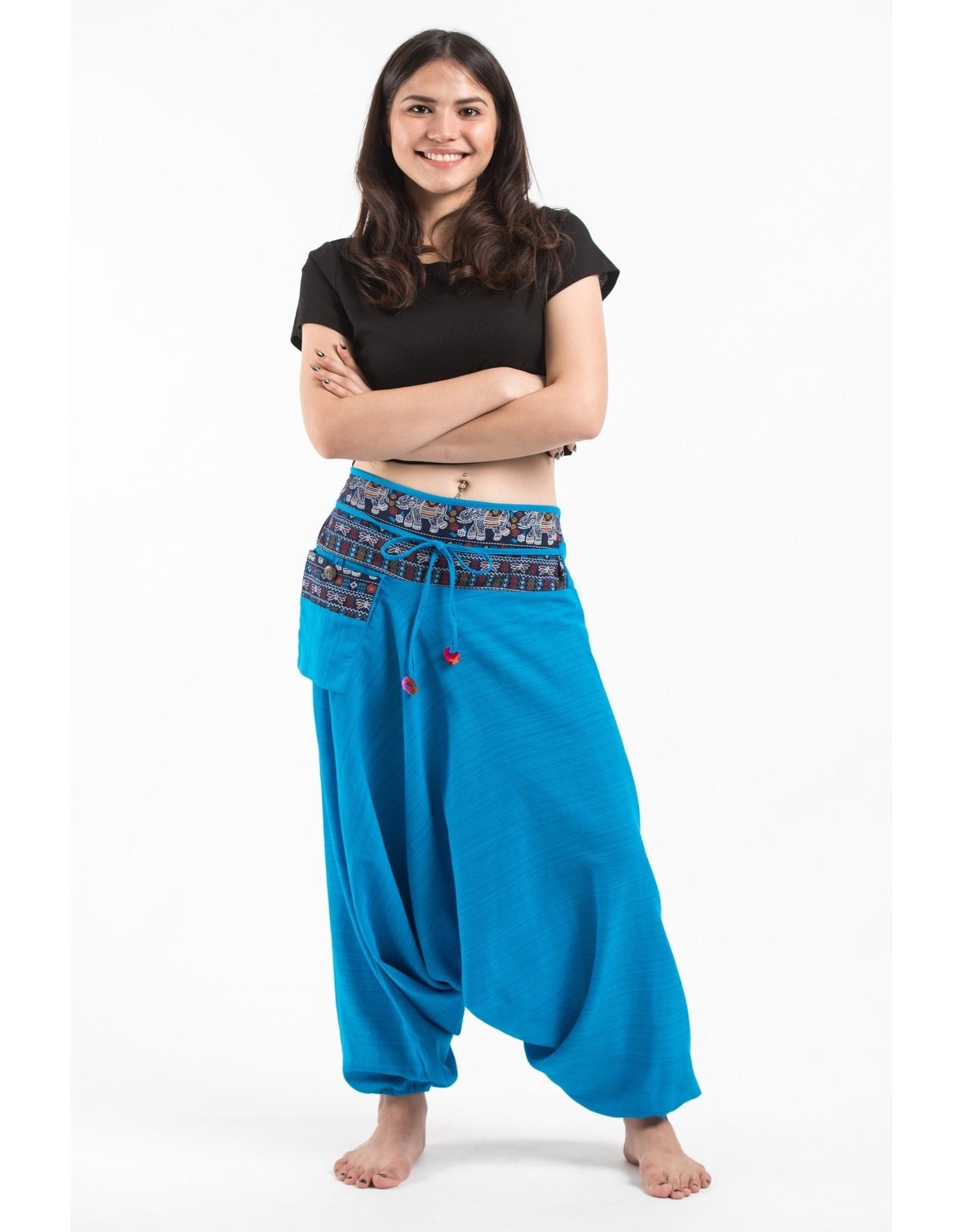 Tribal Top, Low Crotch Harem Pin Stripe Pants, Teal