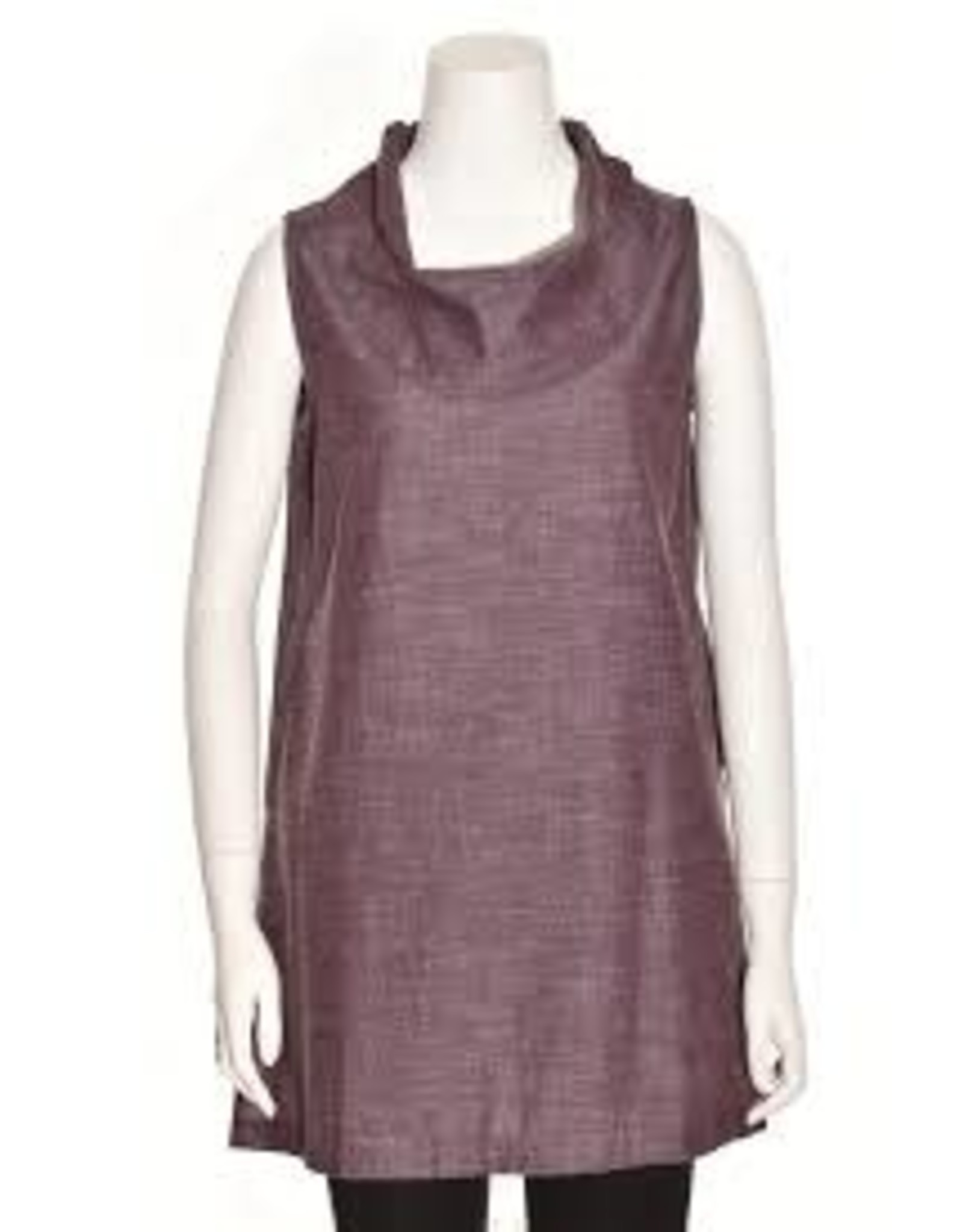 Organic Cotton Cowl Tunic Dress, India Aubergine (purple) S