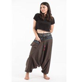 Tribal Top, Low Crotch Harem Pin Stripe Pants, Brown