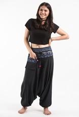 Tribal Top, Low Crotch Harem Pin Stripe Pants, Black