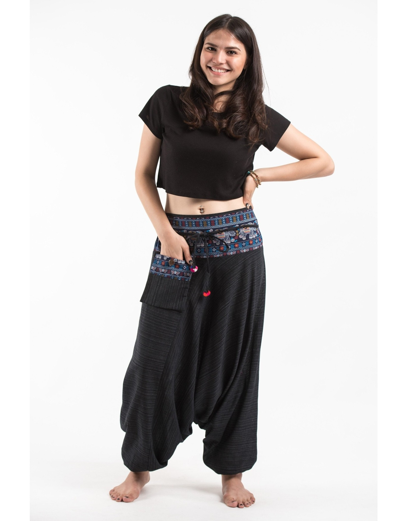 Tribal Top, Low Crotch Harem Pin Stripe Pants, Black
