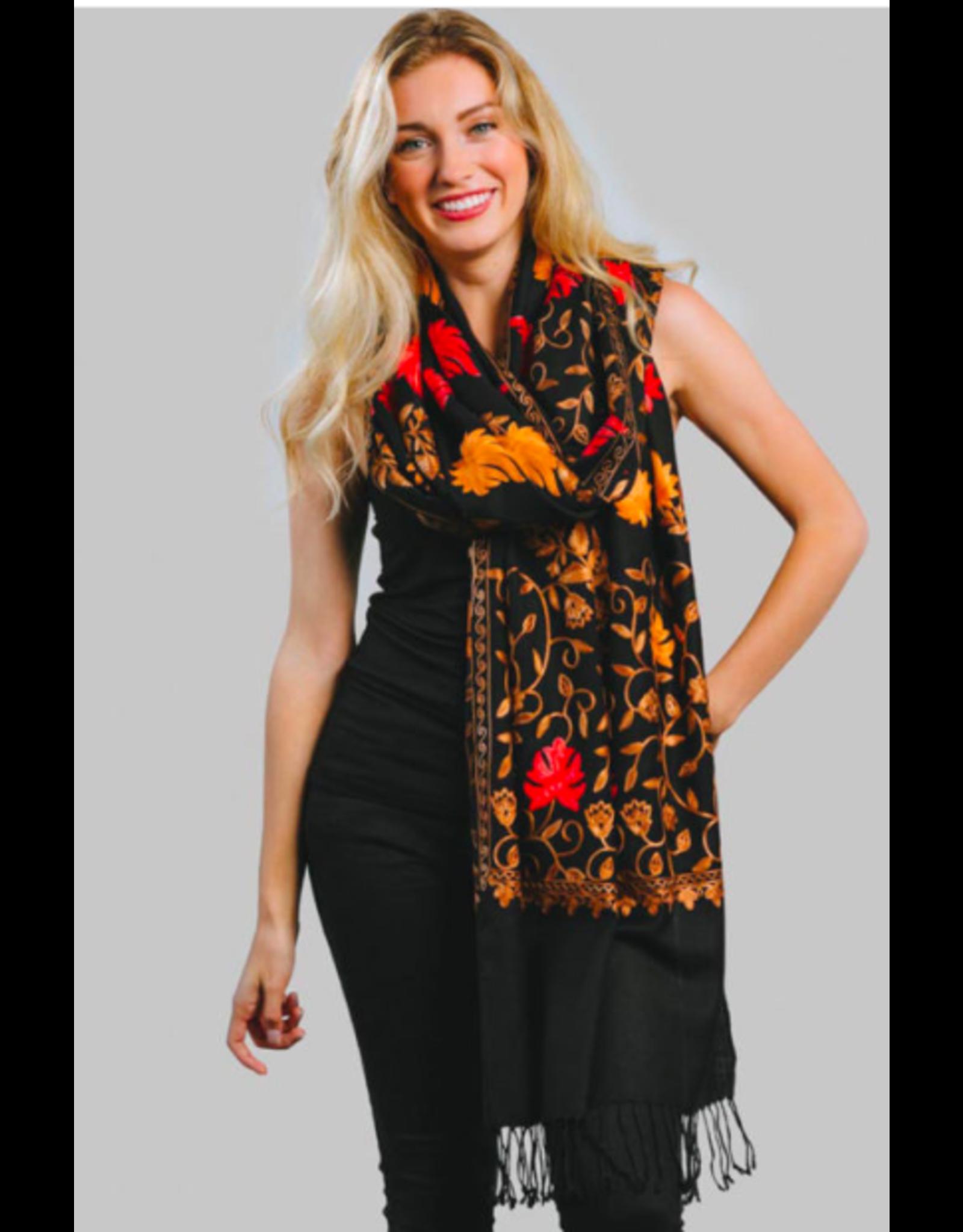 Janavi Embroidered Wool Shawl, Black & Autumn Shades, India