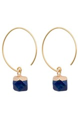 Clara Chic Brass and Stone Earrings, Lapis, Thailand