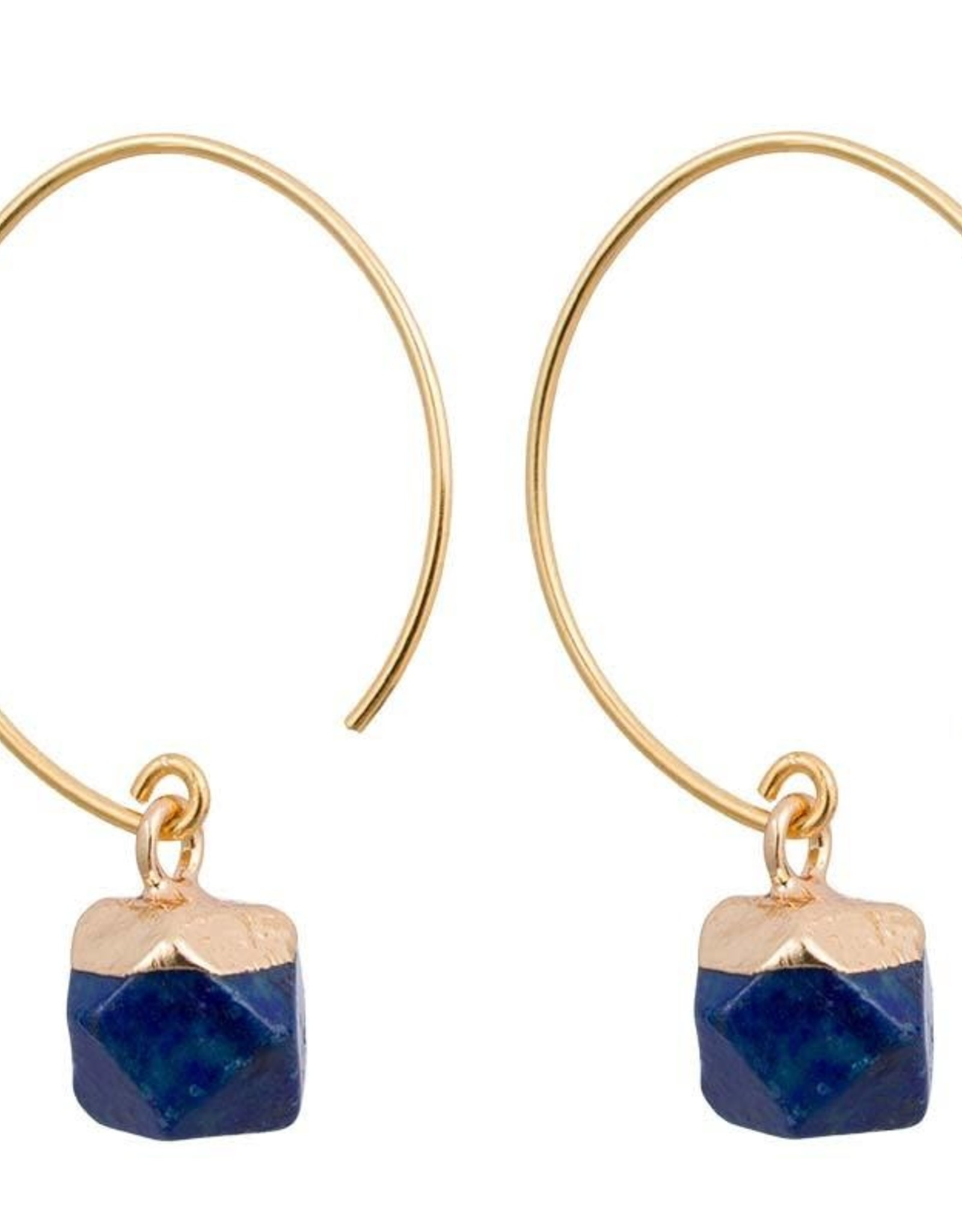 Clara Earrings Chic Brass and Stone, Lapis, Thailand