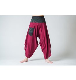 Women's Button Up Cotton Pants with Hill Tribe Trim, Burgundy