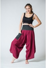 Women's Thai Button Up Cotton Pants with Hill Tribe Trim  Burgundy