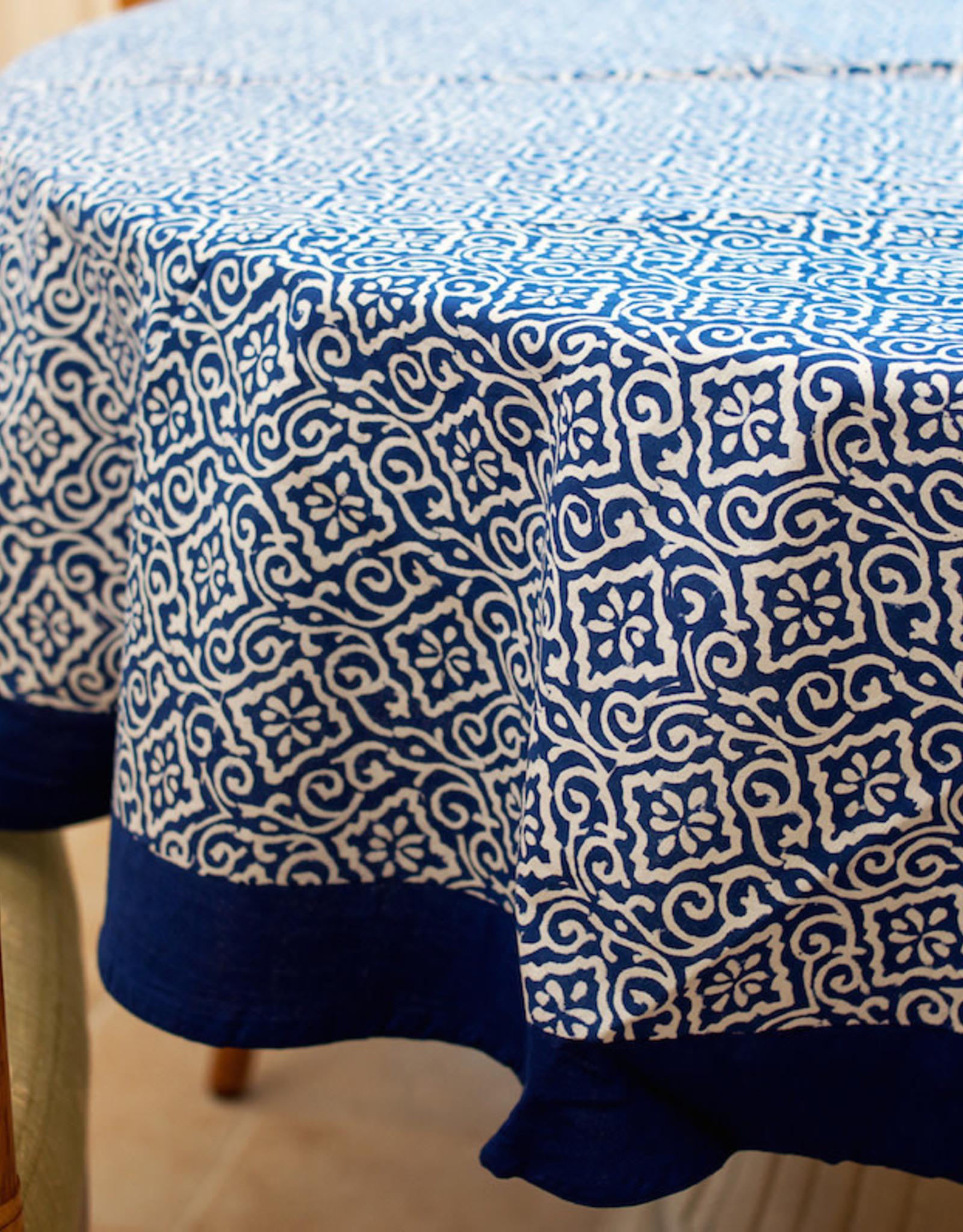 "Jaipur Blue Table Cloth,70"" Round, India"