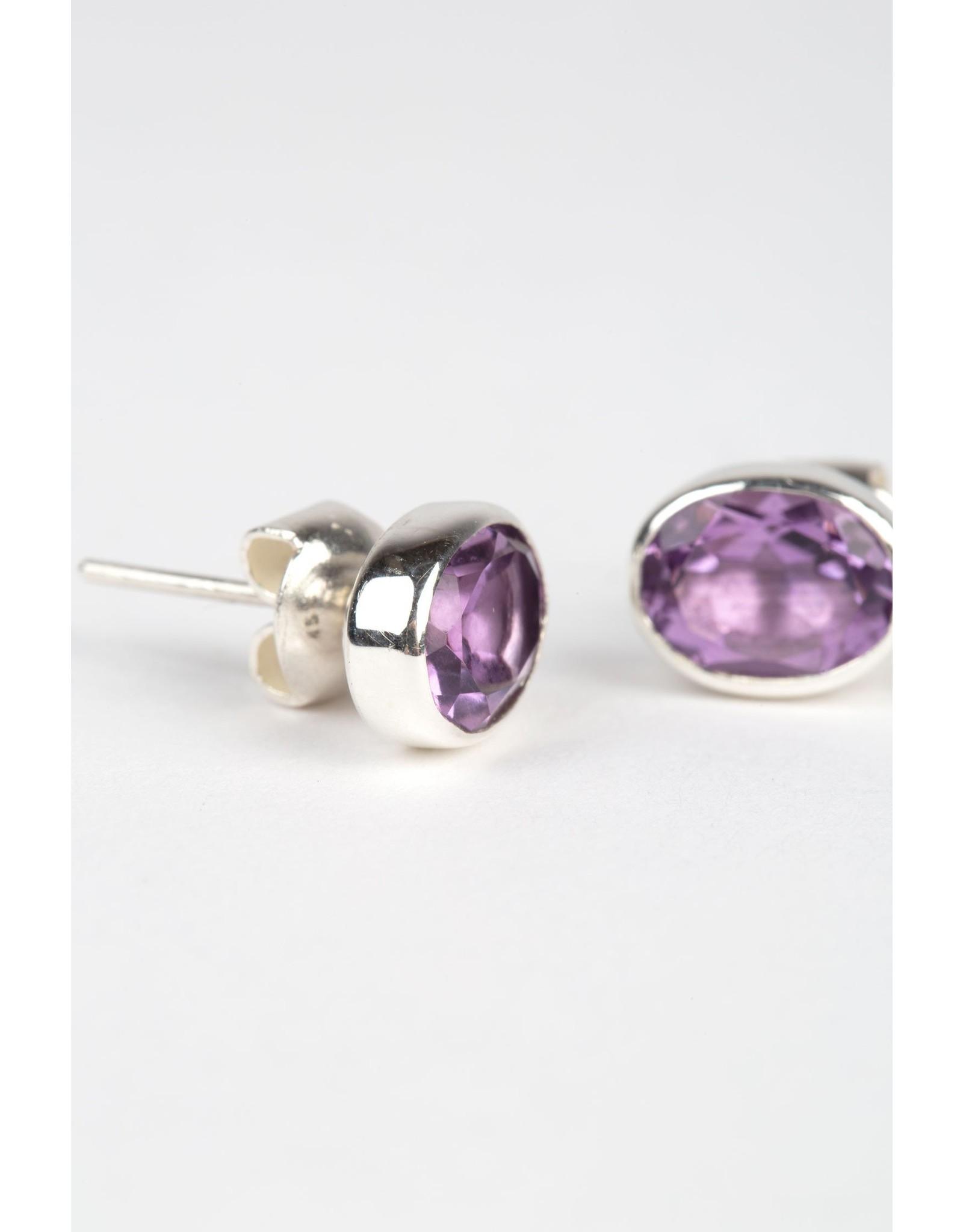 Oval Amethyst Sterling Earrings