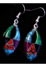 Inlaid Stone Earrings, Oblong, Mexico