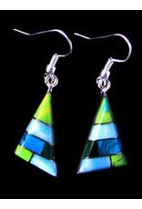 Turquoise Alpaca Triangle Earrings, Mexico