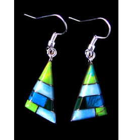 Turquoise Alpaca Triangle Earrings, Mexico