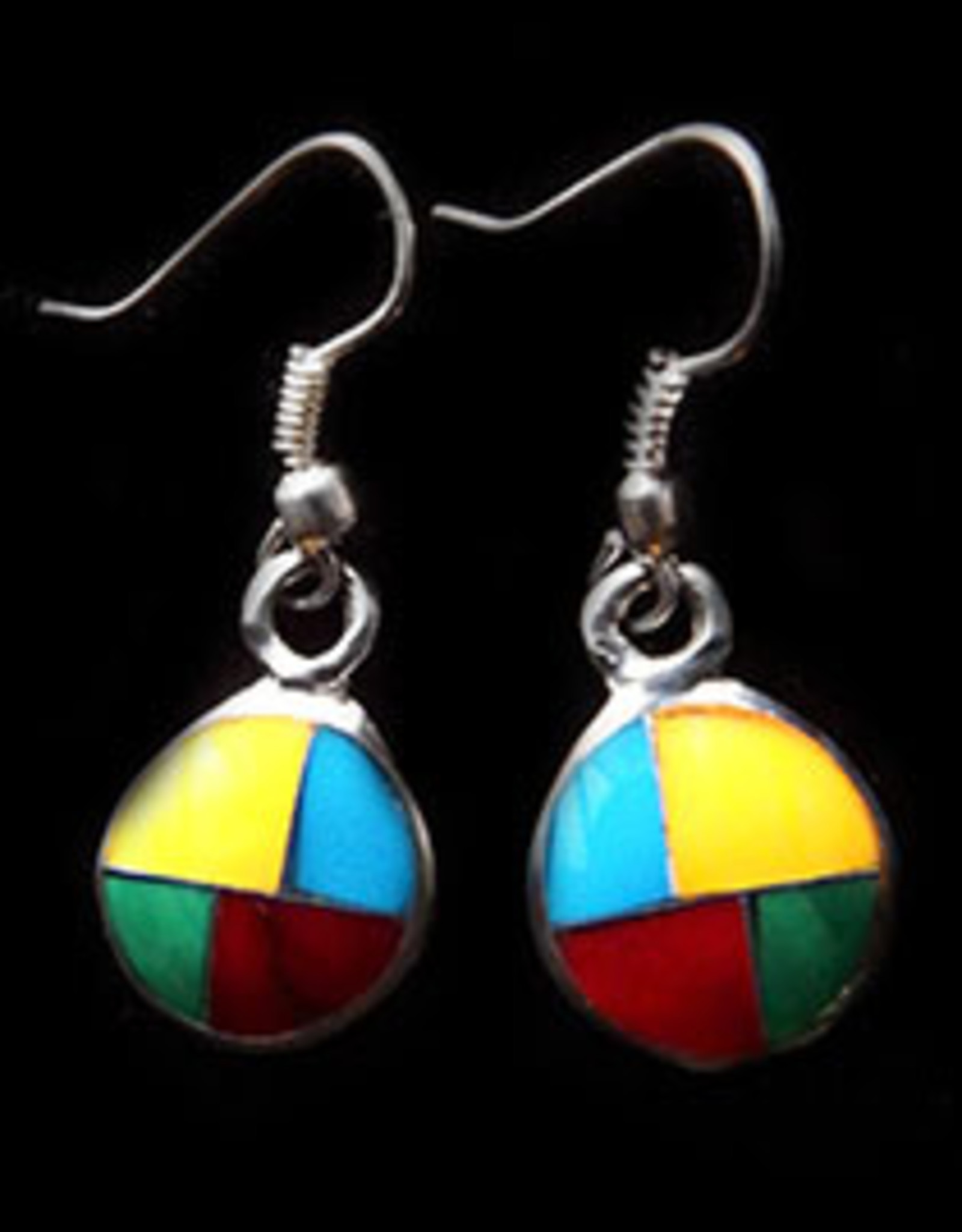 Inlaid Circle Drop Earrings, Mexico